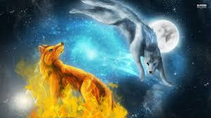Fire And Ice Wolves Computer Wallpaper | Animals | Pinterest ...