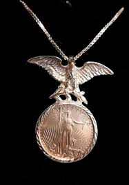 2016 gold eagle 5 coin gold eagle pendant chain necklace 1 10th oz 22 10k gold 1787162050