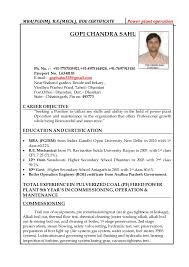 Power Plant Mechanical Engineer Resumes Gopi Chandra Sahu Resume