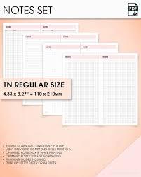 Notes Standard Travelers Notebook Inserts Printable Standard Tn