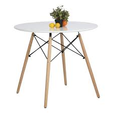 Coavas Esstisch Rund Küchentisch Modern Büro Konferenztisch Weiß