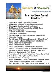 International Travel Checklist Be Prepared For Your Trip Peanuts