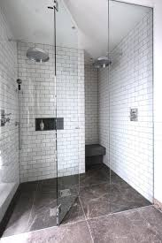 alcove shower contemporary white tile and subway tile alcove shower idea in london with white
