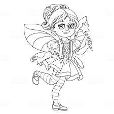 Schattig Meisje In Fee Kostuum Geschetst Voor De Kleurplaat Pagina