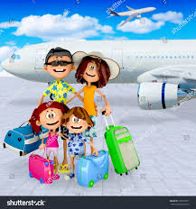 3d family at the airport going on vacations