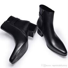 new mens pointed toe genuine leather boots high heels fashion buckle designer black ankle boots shoes men botas rubber boots ski boots from