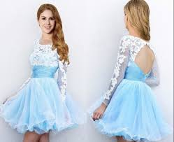 Short Light Blue Grad Dresses Hot Sale Short Mini Light Blue Prom Dresses With Long Sleeves Cheap Tulle Skirt Prom Party Gown Homecoming Dresses Graduation Gowns H1026