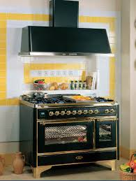 black retro kitchen stove and yellow wall tiles