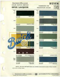 Buick 1949 Sherwin Williams Paint Chart Buick Heritage