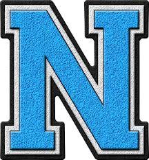 Blue Letters Presentation Alphabets Light Blue Varsity Letter N