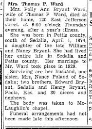 Polly Bryant Ward obituary - Newspapers.com
