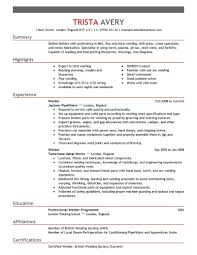 Welder Resumes Examples Free Resume Templates