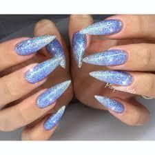 Blue Glitter Ombré Stiletto Nails Nehty Naglar Vackra Naglar A