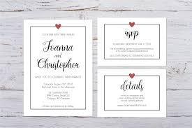 Printable Minimalist Heart Wedding Invitation Custom Wedding Invites Minimalist Heart Design Custom Pdf Wedding Invitation Package