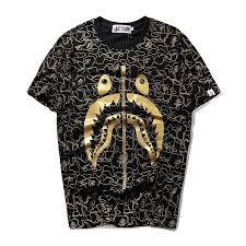 <b>BAPE</b> Gold foil zipper <b>shark printing</b> T shirt Casual short sleeve tee ...