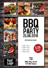 Barbecue Flyers Bbq Party Barbecue Event Flyer Poster Meat Grill Food