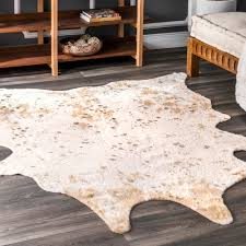 nuloom animal print macchiato faux cowhide area rug off white contemporary novelty rugs by nuloom