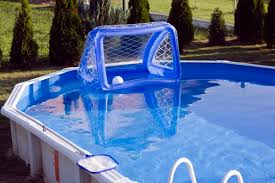 above ground swimming pool ideas. Garden Pool With Water Polo Goal. Above Ground Swimming Ideas A