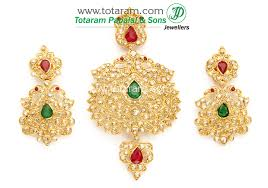 22k gold peacock uncut diamond pendant drop earrings set with ruby emerald 235 dps091 in 33 100 grams