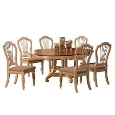 hilale furniture 7 piece round dining set w side chairs antique white