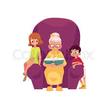 vector flat cartoon small boy kids listening to grandmother reading book sitting at chair isolated ilration on a white background