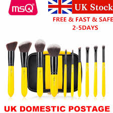 dels about uk 10pcs yellow black makeup brush set kit face eyeshadow lip makeup brush tools