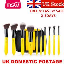 uk 10pcs yellow black makeup brush set kit face eyeshadow lip makeup brush tools ebay
