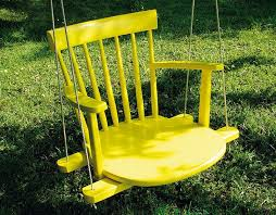 diy kids swing from an old rocking chair
