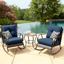 La Z Boy Outdoor Avery 3 Piece Bistro Rocking Chair Set in Blue