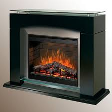 dimplex laa electric fireplace glossy black with stainless surround raised glass top