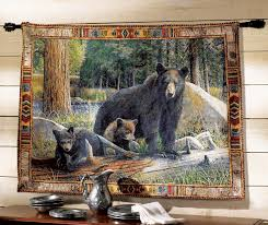 on black art tapestry wall hangings with black bear tapestry wall hanging