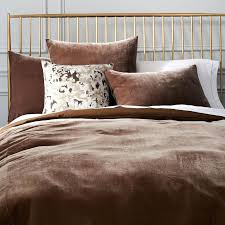 velvet bedding brown shams taupe west elm home design pictures bedspread queen velvet bedding white cloud mink set