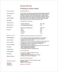 Warehouse Worker Resume New Sample Warehouse Worker Resume 9