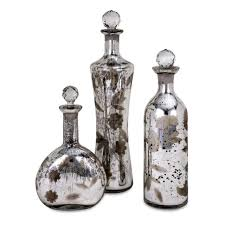 Decorative Bottles With Stoppers Set of 100 Botanical Etched Mercury Glass Decorative Bottles with 3