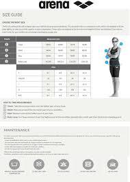 Arena Swim Size Chart Arena Girls Junior Powerskin St Size Chart
