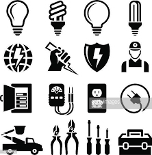 26 fuse box stock illustrations clip art cartoons icons getty electrician equipment for outlet repair black white icon set · house electrical diagram