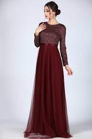 فستان سهرات طويل بوردو اللون