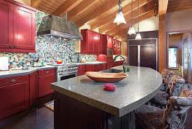 View in gallery Traditional kitchen with dark red cabinets