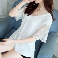 Summer New Korean Lace <b>Short</b> Sleeve <b>Chiffon Shirt Small Shirt</b> ...