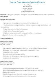 Brand Specialist Sample Resume