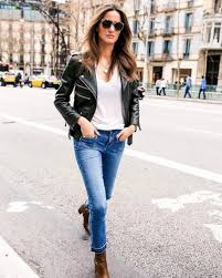 alex riviere is wearing this leather jacket with a simple white v neck tee denim
