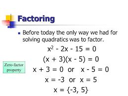 quadratic equation factoring