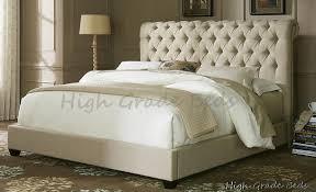 Naples Cream Fabric Chesterfield Upholstered Sleigh Bed Frame 4ft6