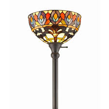 72 in tiffany style peacock torchiere floor lamp