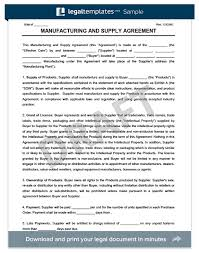 Supply Contract Templates Stunning Manufacturing Supply Agreement Create Download A Free Form