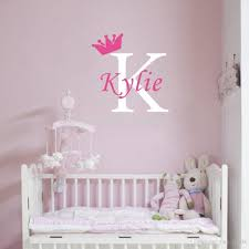 personalized girls name crown monogram wall stickers initial letter kids room nursery home deco decor wall decals decor wall sticker from free life04