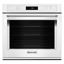kitchenaid self cleaning convection single electric wall oven white common 27 in actual 27 in