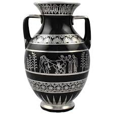 Decorative Jugs And Vases Rare Rockwell Art Deco Period Greek Revival Silver Overlay Black