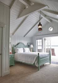 beach bedroom furniture. Nantucket Cottage Bedroom | Love The Vaulted Ceilings With Exposed Beams, Glass Doors And Washboard Walls. Beach Furniture