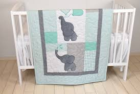 baby quilt elephant new blanket mint green gray crib bedding safari of elephants home design pink